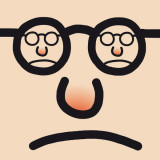 cartoon drawing of an unhappy face with eyeglasses