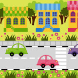 colorful illustration of a city street