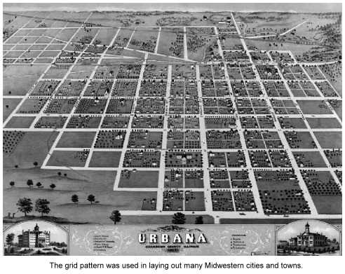 Grid pattern evident in illustrated map of Urbana