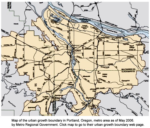 Map of Portland, Oregon, Urban Growth Boundary