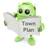 cartoon of android robot looking at town plan