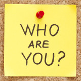 words: Who are You? on bulletin board