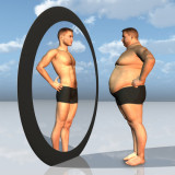 photo of fat person seeing himself in mirror as thin person