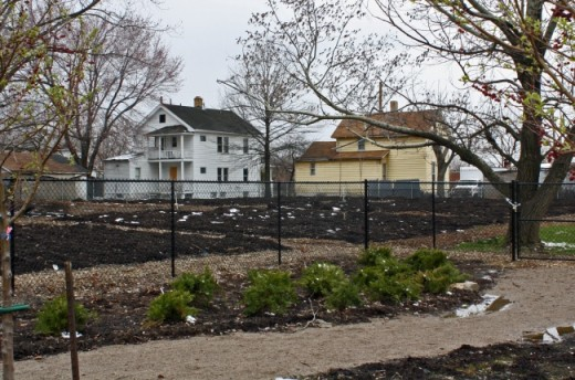 A community garden in an inner-city Cleveland neighborhood