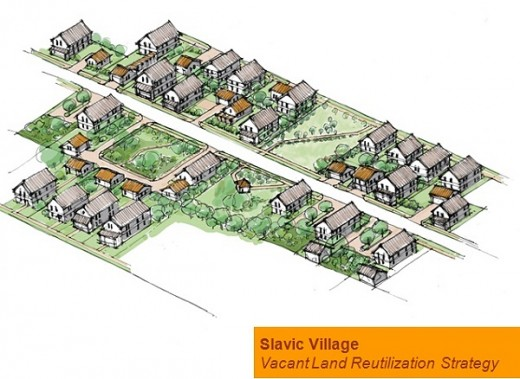 Illustration showing vision of Slavic Village's future