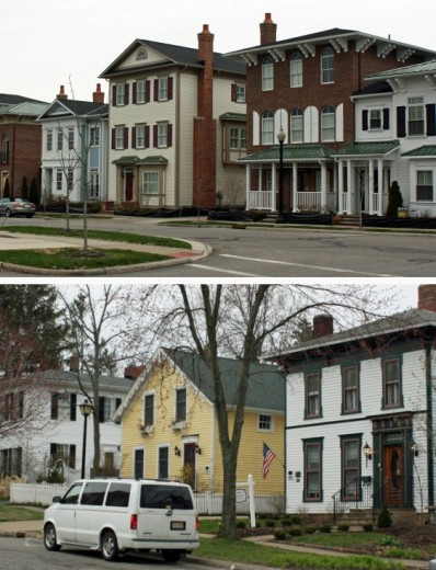 Views of new and old housing in Hudson, Ohio