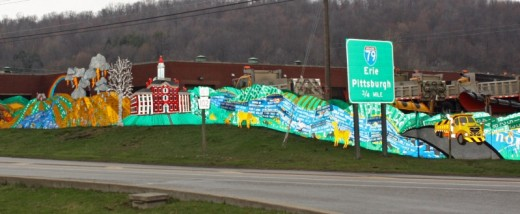 View of Read Between the Signs art project on U.S. Route 322 near Meadville, Pennsylvania