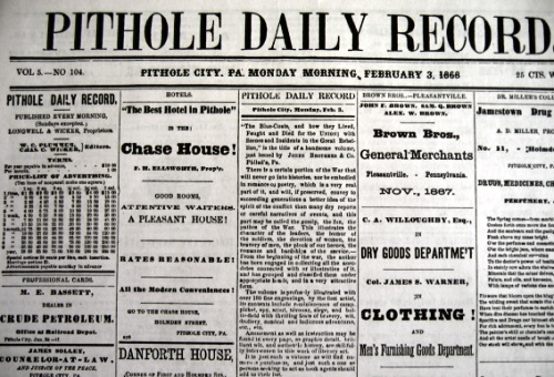 facsimile of old Pithole City newspaper