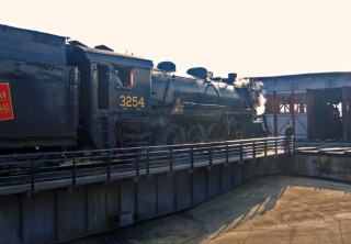 Locomotive on roundtable at Steamtown