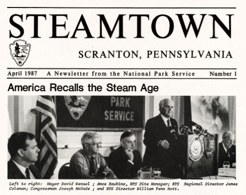 Early edition of Steamtown National Park newsletter