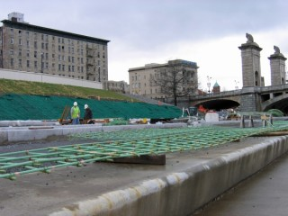 Construction underway along the riverfront embankment in Wilkes-Barre
