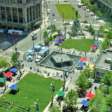 aerial view of part of Campus Martius park in downtown Detroit, Michigan; courtesy Detroit 300 Conservancy
