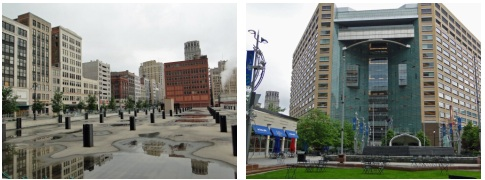 photo of site of demolished Hudson's store and photo of Compuware's headquarters