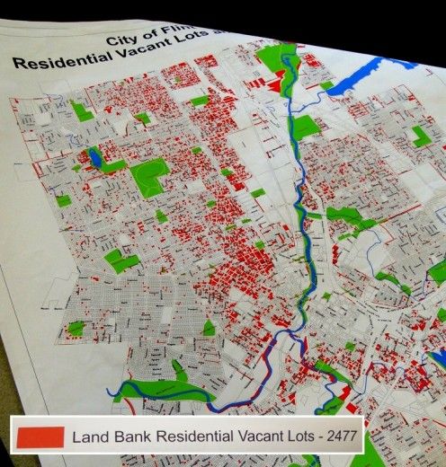 Map of vacant lots in Flint, Michigan