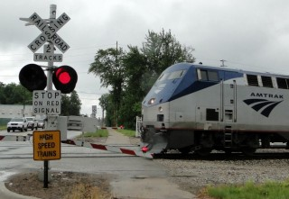Amtrak train in Niles, Michigan