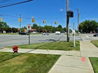View of one intersection in Troy, Michigan