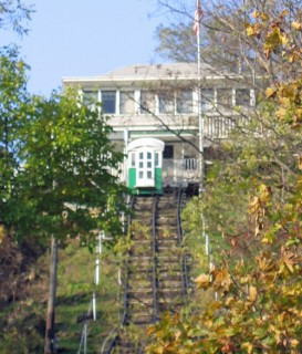 Dubuque, Iowa, funicular ready to head back down