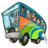 cartoon illustration of bus packed with riders