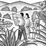 drawing of three people viewing a plan map in a field