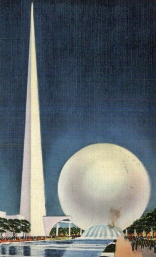 The Trylon and Perisphere at the 1939 New York World's Fair