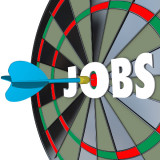 "dartboard with the word ""Jobs"" in the center"