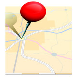 Map with a red push pin