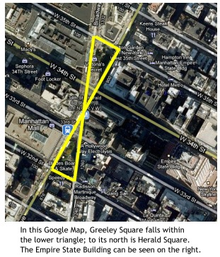 map showing location of Greeley Square