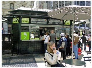 food kiosk inside Greeley Park in Manhattan