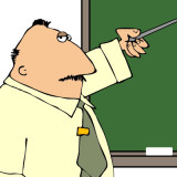 cartoon of teacher pointing to blackboard