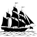 tall sailing ship in silhouette