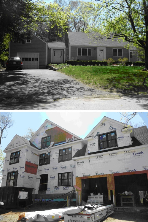 two photos: new vs. old housing; photos by Beth Humstone