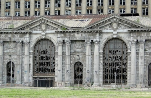 close up photo of Michigan Central Railroad Station & Tower in Detroit