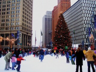 Ice skating in Campus Martius Park