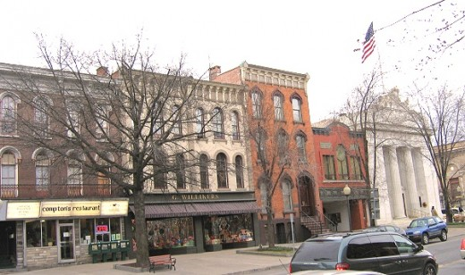 Along Broadway in downtown Saratoga Springs, New York