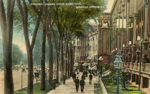 postcard view of Broadway in downtown Saratoga Springs