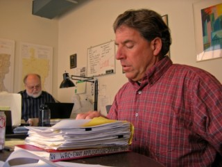 Tom Buchanan (foreground) and Jim Matteau of the Windham Regional Commission