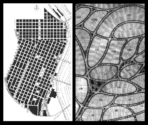view of two very different street patterns