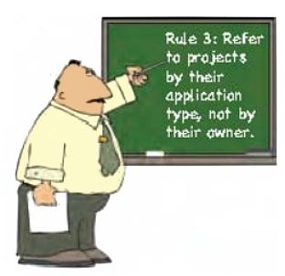 Refer to projects by their application type, not by their owner