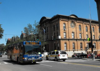 Bus in downtown Saratoga Springs, New York