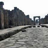Roadway and sidewalk in Pompeii