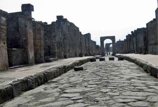 Roadway and sidewalk in Pompeii