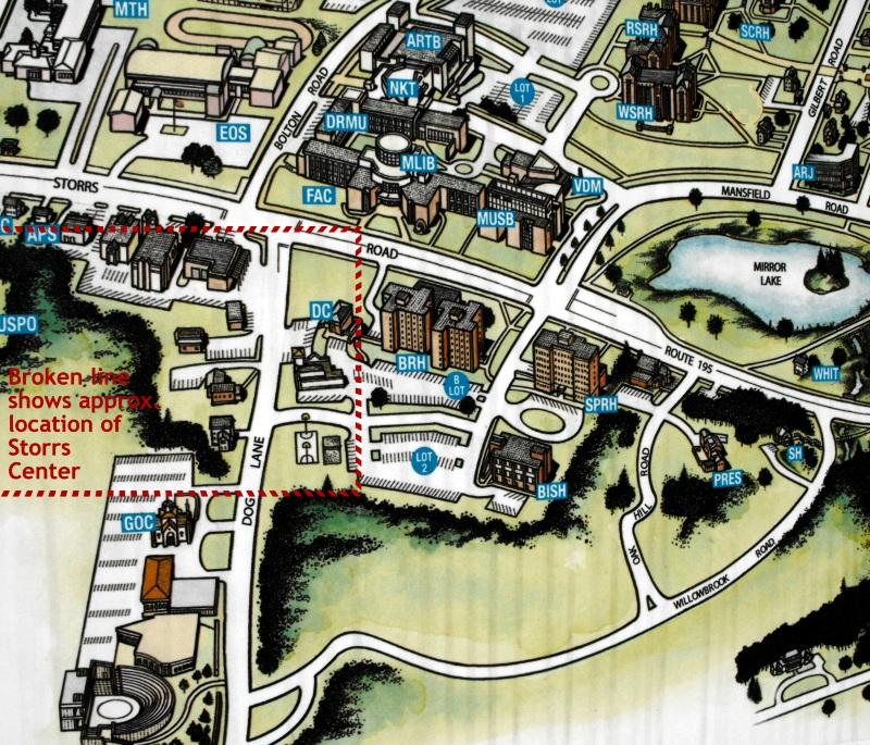 Location of Storrs Center in relationship to UConn campus ... on final four map, lafayette map, vanderbilt map, northwestern map, creighton map, bu map, tcu map, tulane map, va tech map, norwich university campus map, la tech map, u of l map, connecticut map, villanova map, n.c. state map, seton hall map, northwest alaska map, texas a&m map, rutgers map, boston university map,