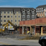 Demolition of strip shopping plaza at Storrs Center.