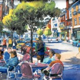 "Illustration of the future ""Village Street"" in Storrs Center."