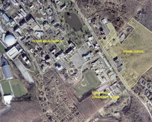 aerial photo of University of Connecticut - Storrs