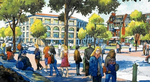 Illustration of future Market Square in Storrs Center.
