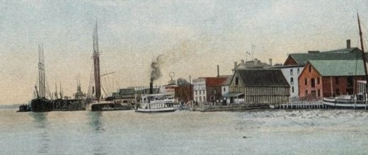 Postcard view of the Bath riverfront, circa 1907.