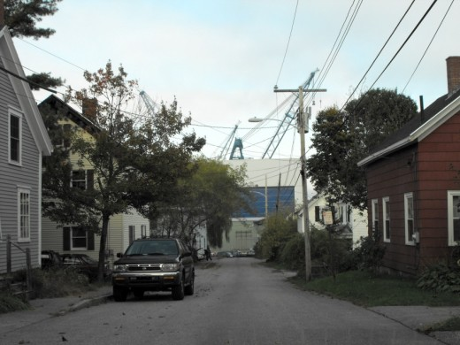 A number of neighborhood streets in Bath's south end have terminating vistas of the shipyard.