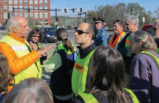 Dan Burden helped lead the walking audit of downtown Brunswick.