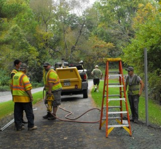 Putting final touches on Riverwalk path in Topsham